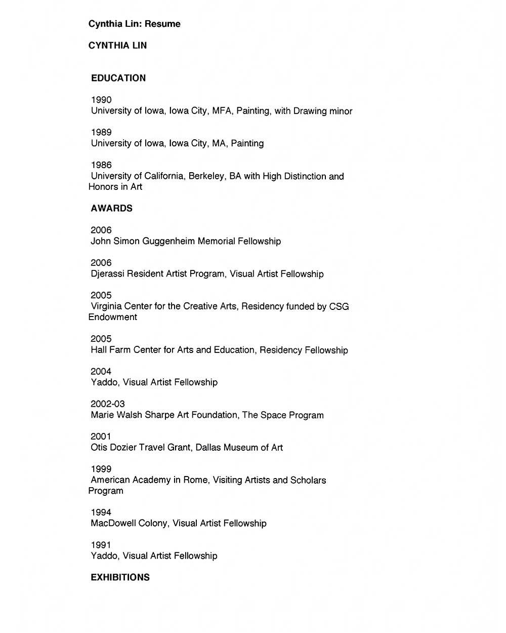Cynthia Lin's Resume, pg 1